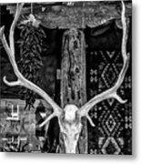 Elk Skull In Black And White Metal Print