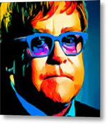 Elton John Blue Eyes Portrait Metal Print