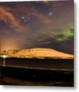 Elv Or Troll And Viking With A Sword In The Northern Light Metal Print