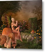 Elven Beautiful Woman With Flute Metal Print