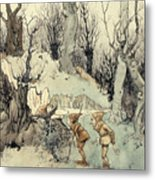 Elves In A Wood Metal Print by Arthur Rackham