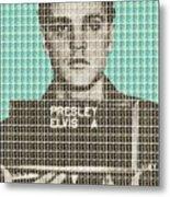 Elvis Army Mug Shot - Blue Metal Print