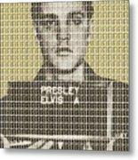 Elvis Army Mug Shot - Gold Metal Print