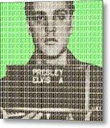 Elvis Army Mug Shot - Green Metal Print