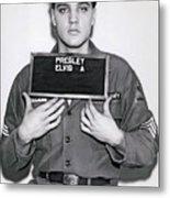 Elvis Army Mugshot 1960 Metal Print