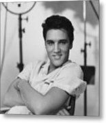Elvis Presley On Set During Movie Making Metal Print