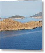 Emborio Harbour On Halki Island Metal Print