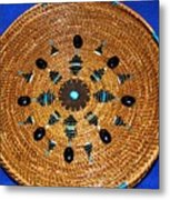 Embroidered Gem Stone Plate Metal Print