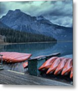 Emerald Lake Canoes Metal Print