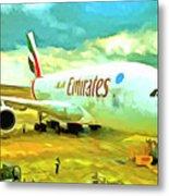 Emirates A380 Airbus Pop Art Metal Print