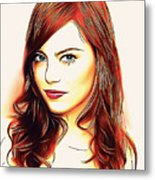Emma Stone Portrait Colored Pencil Metal Print