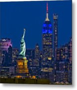 Empire State And Statue Of Liberty II Metal Print