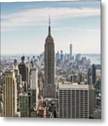 Empire State Building And Manhattan Skyline, New York City, Usa Metal Print