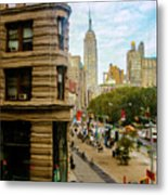 Empire State Building - Crackled View Metal Print