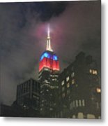 Empire State Building In The Fog Metal Print