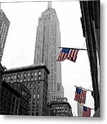 Empire State Building In The Mist Metal Print by John Farnan