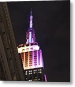 Empire State Building With A Light In A Window Metal Print