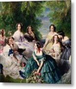 Empress Eugenie Surrounded By Her Ladies In Waiting Metal Print by Franz Xaver Winterhalter