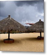 Empty Beach Due To Incoming Storm  Metal Print