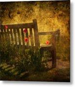 Empty Bench And Poppies Metal Print
