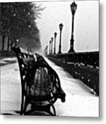 Empty Benches In The Snow Metal Print