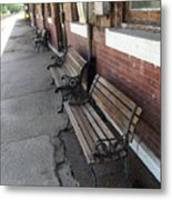 Empty Benches Metal Print