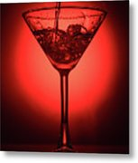 Empty Cocktail Glass On Red Background Metal Print