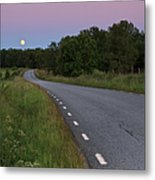 Empty Road In Countryside Landscape Metal Print