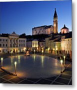 Empty Tartini Square In Piran Slovenia With Courthouse, City Hal Metal Print