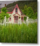 Enchanted Cottage With Picket Fence Metal Print