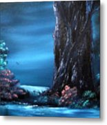 Enchanted Oak By Moonlight Metal Print by Cynthia Adams