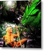 Encounter With A Dragon Metal Print