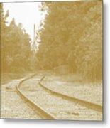 End Of The Rail-sepia Metal Print