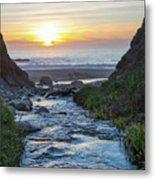End Of The Road - Creek Runs Into Pacific Ocean At Big Sur Metal Print