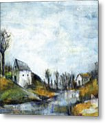 End Of Winter - Acrylic Landscape Painting On Cotton Canvas Metal Print
