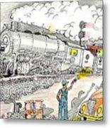 Engine On The Yard Metal Print