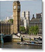 England, London, Big Ben And Thames River Metal Print