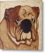 English Bulldog Coffee Painting Metal Print