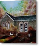 English Cottage In The Autumn Metal Print