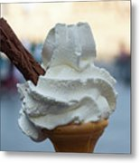 English Vanilla Ice Cream Cone And Flake Metal Print