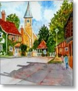 English Village Street Metal Print