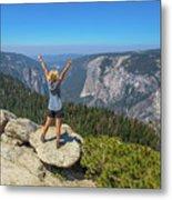 Enjoying At Yosemite Summit Metal Print