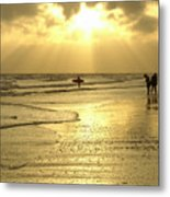Enjoying The Beach At Sunset Metal Print