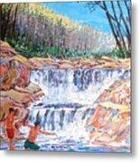 Enjoying Waterfall Metal Print