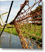 Enkhuizen Windmill And Nets Metal Print