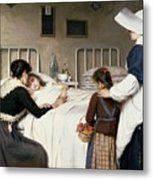 Enrique Paternina Garcia Cid - Mother Visit To The Hospital 1892 Metal Print