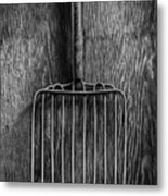 Ensilage Fork Up On Plywood In Bw 66 Metal Print