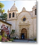 Entering The Church Sanctuary At Carmel Mission-california  Metal Print