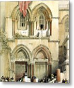 Entrance To Church Of The Holy Sepulchre Card Metal Print