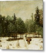 Entrance To The Forest In Winter Metal Print by Cherubino Pata